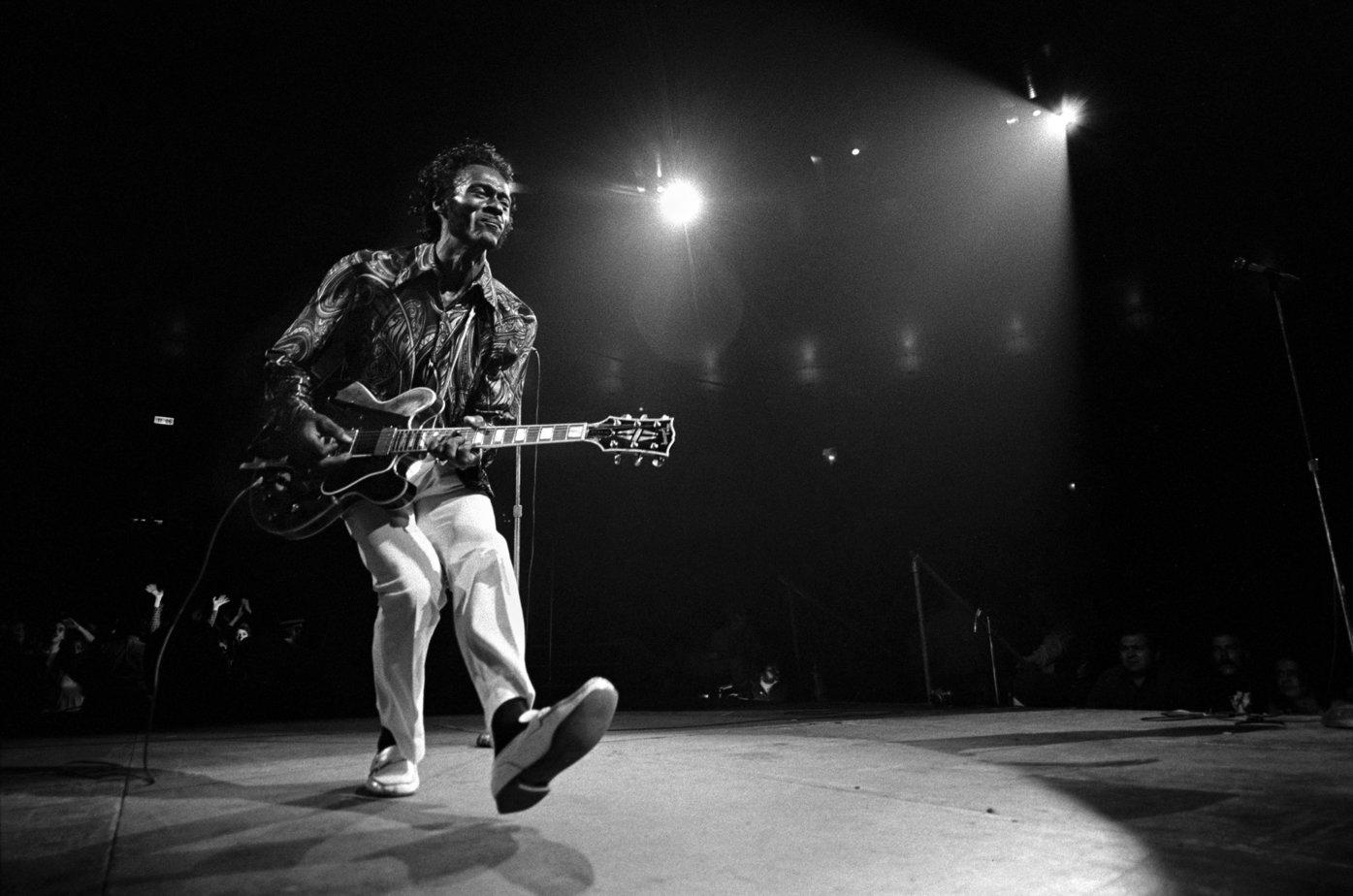Chuck Berry playing guitar